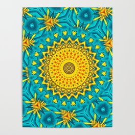 Birds of Paradise Circular Geometric Blended Floral Pattern \\ Yellow Green Blue Teal Color Scheme Poster