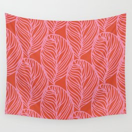 petaluma: pink leaf pattern Wall Tapestry