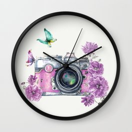 Camera with Summer Flowers 2 Wall Clock