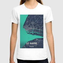 Le Havre Blue Dark Color City Map T-shirt