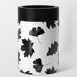 Falling Autumn Leaves in Black and White Can Cooler