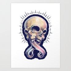 Triple eyed skull Art Print