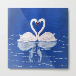 Beautiful Love Swans Metal Print
