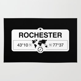 Rochester New York Map GPS Coordinates Artwork with Compass Rug