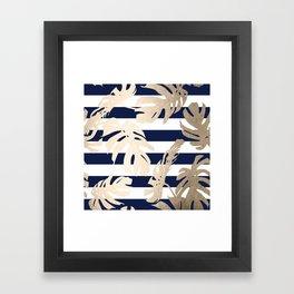 Simply Tropical Palm Leaves on Navy Stripes Framed Art Print