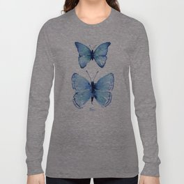 Two Blue Butterflies Watercolor Long Sleeve T-shirt