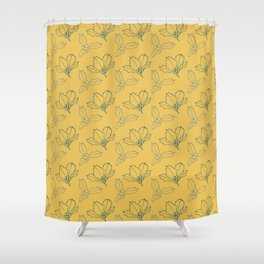 Holy Berries Blue on Gold Shower Curtain
