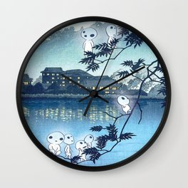 Kodama, Forest spirits vintage japanese woodblock mashup Wall Clock