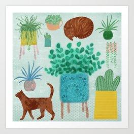 Cats and Cacti Art Print