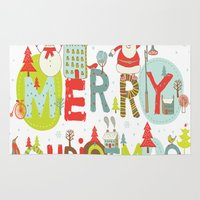 merry christmas Area & Throw Rugs featuring MERRY CHRISTMAS by Acus