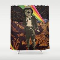 cowboy Shower Curtains featuring Galactic Cowboy by Dan Howard
