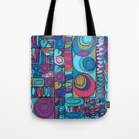 stained glass Tote Bags featuring Stained Glass by Helene Michau