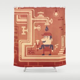 Mario at work Shower Curtain