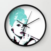 audrey hepburn Wall Clocks featuring AUDREY HEPBURN by Nuk_