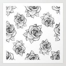 Rose Line Pattern Art Print