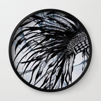 headdress Wall Clocks featuring headdress by Snow & Ink