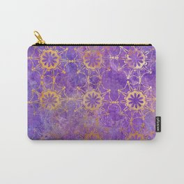 Pop Painted Pattern:  Purple and gold watercolor abstract ornament Carry-All Pouch