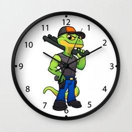 Lizard soldier holding gun Wall Clock