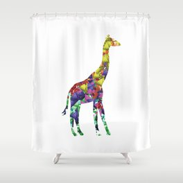 Giraffe Print Watercolor Triangles Shower Curtain