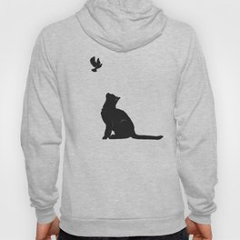 Cat and Bird in Red Hoody