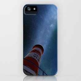 Lighthouse under starry sky iPhone Case