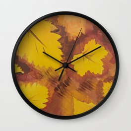 Yellow Autumn Leaf and a red pear painting Fall pattern inspired by nature colors Wall Clock
