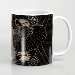 Owl in Sacred Geometry Composition - Black and Gold Coffee Mug