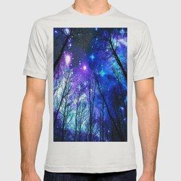 black trees purple blue space T-shirt