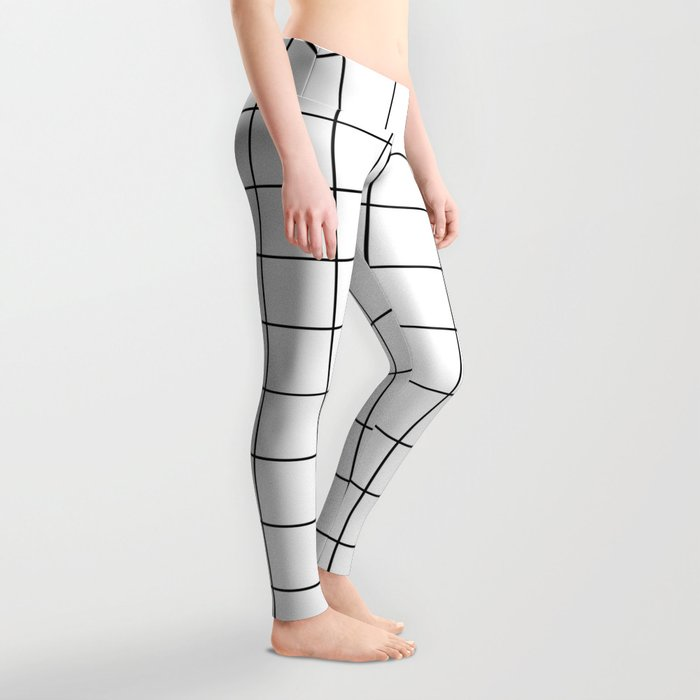 Grid Stripe Lines Black and White Minimalist Geometric Leggings