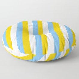Zebra Stripes (Blue and Yellow Stripes) Floor Pillow