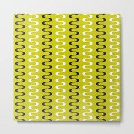 Geometric Pattern 240 (mustard wavy lines) Metal Print