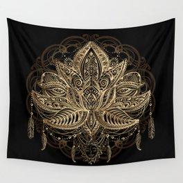 Lotus Black & Gold Wall Tapestry