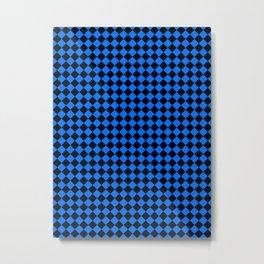 Black and Brandeis Blue Diamonds Metal Print