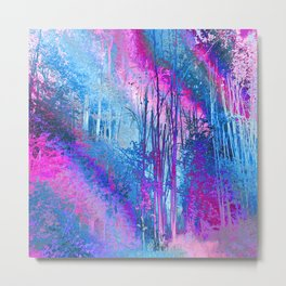 Psychedelic Forest (blue-pink) Metal Print