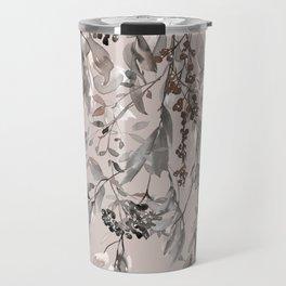 Winter Leaves, Beige, Brown, Watercolor, Floral Prints Travel Mug