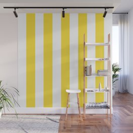 Banana yellow - solid color - white vertical lines pattern Wall Mural