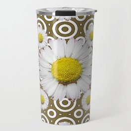 Modern Coffee Brown Deco Style Shasta Daisies Art Travel Mug