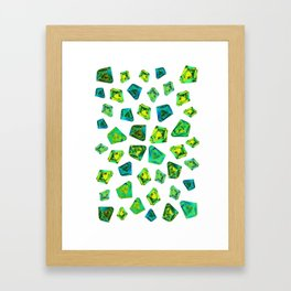 Green beautiful hand drawn gems. Framed Art Print