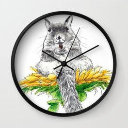 Squirrel on a Flower watercolor Wall Clock