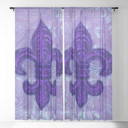 Purple Fleur de Lis Sheer Curtain