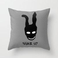 donnie darko Throw Pillows featuring Donnie Darko Wake Up by Grace