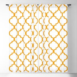 Moroccan Trellis (Orange & White Pattern) Blackout Curtain