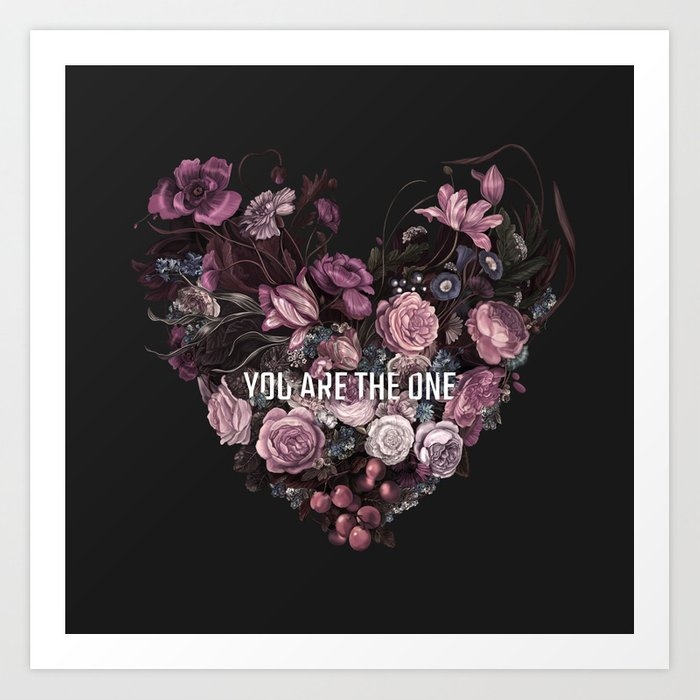 You Are The One // Floral Valentine's Heart Art Print