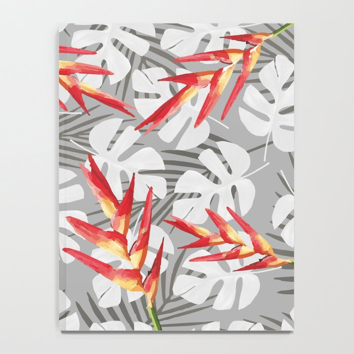 Heliconia Flower with white Monstera Leaves Notebook