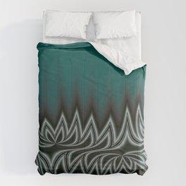 Fractal Tribal Art in Pacific Teal Comforters