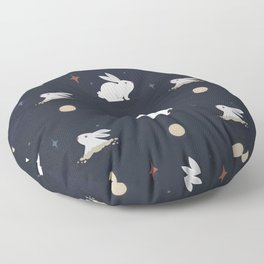 Bunnies on the Moon Floor Pillow