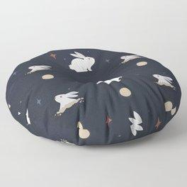 Bunnies on the Moon (Patterns Please) Floor Pillow