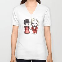 wedding V-neck T-shirts featuring Beetle Wedding by Ludwig Van Bacon