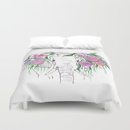 Elephant, Flowers, Rose, Nature Duvet Cover