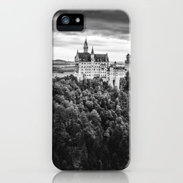 The Castle on the Mountain (Black and White) iPhone Case